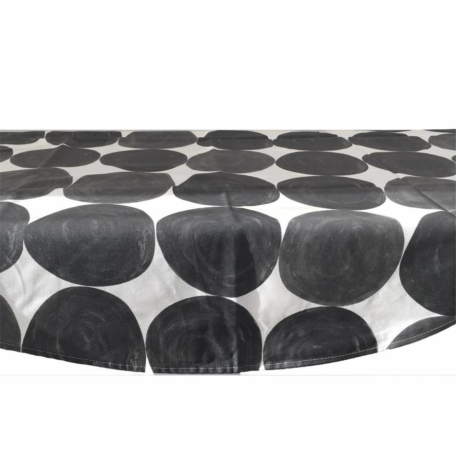 Rond Tafelkleed Gecoat - Ø 150 cm - Grote Hippe Stippen Zwart