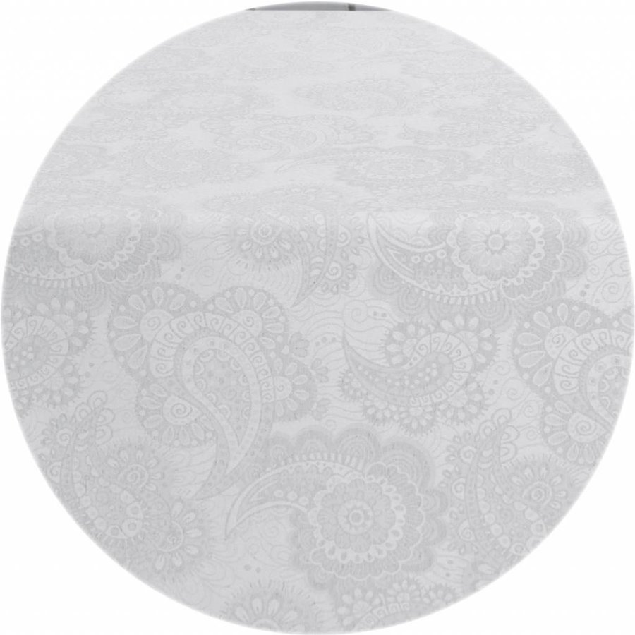 Rond Tafelkleed Gecoat - Ø 160 cm - Paisley - Wit