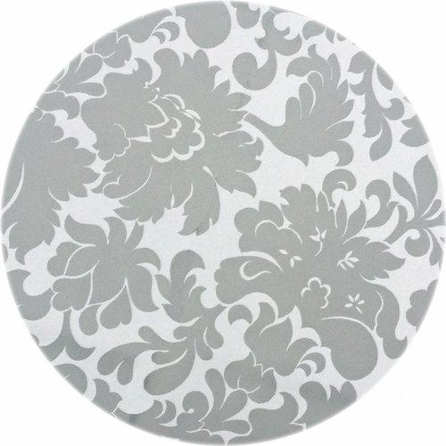 Rond Tafelkleed Gecoat - Ø 160 cm - Bloem - Jacquard - Grijsgroen