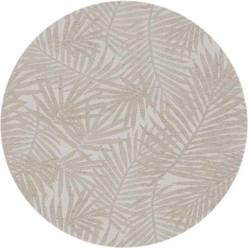 Rond Tafelkleed Gecoat - Ø 160 cm - Palm Leaves- Jacquard - Beige