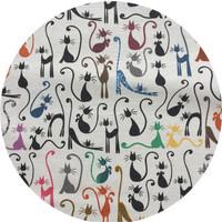 Rond Tafelkleed Gecoat - 160 cm - Katten print
