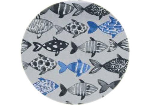 Rond Tafelkleed Gecoat - Ø 160 cm - Visjes -Blauw/Zwart