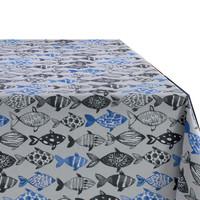 Rond Tafelkleed Gecoat Ø 160 cm Visjes -Blauw/Zwart