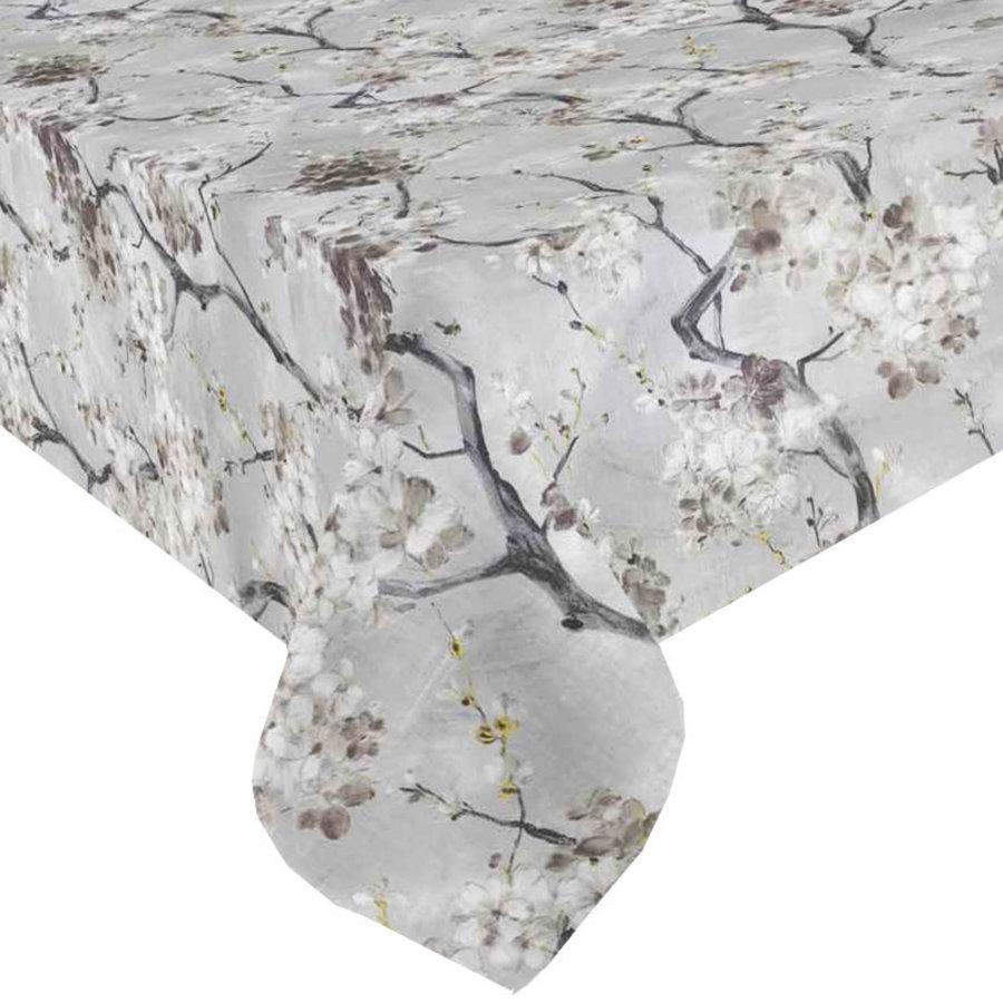Mixmamas Rond Tafelkleed Gecoat - Ø 160 cm - Bloesem - Grijs