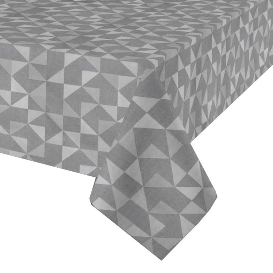 Rond Tafelkleed Gecoat - Ø 160 cm - Squares - Grijs