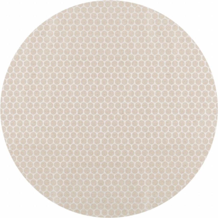 Rond Tafelkleed Gecoat - Ø 180 cm - Linnen Stippen - Beige/Creme