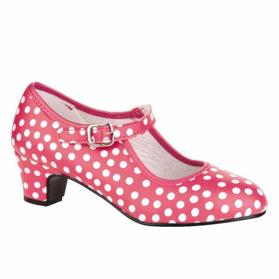 Spaanse Prinsessen Schoen Stippen - Roze/wit