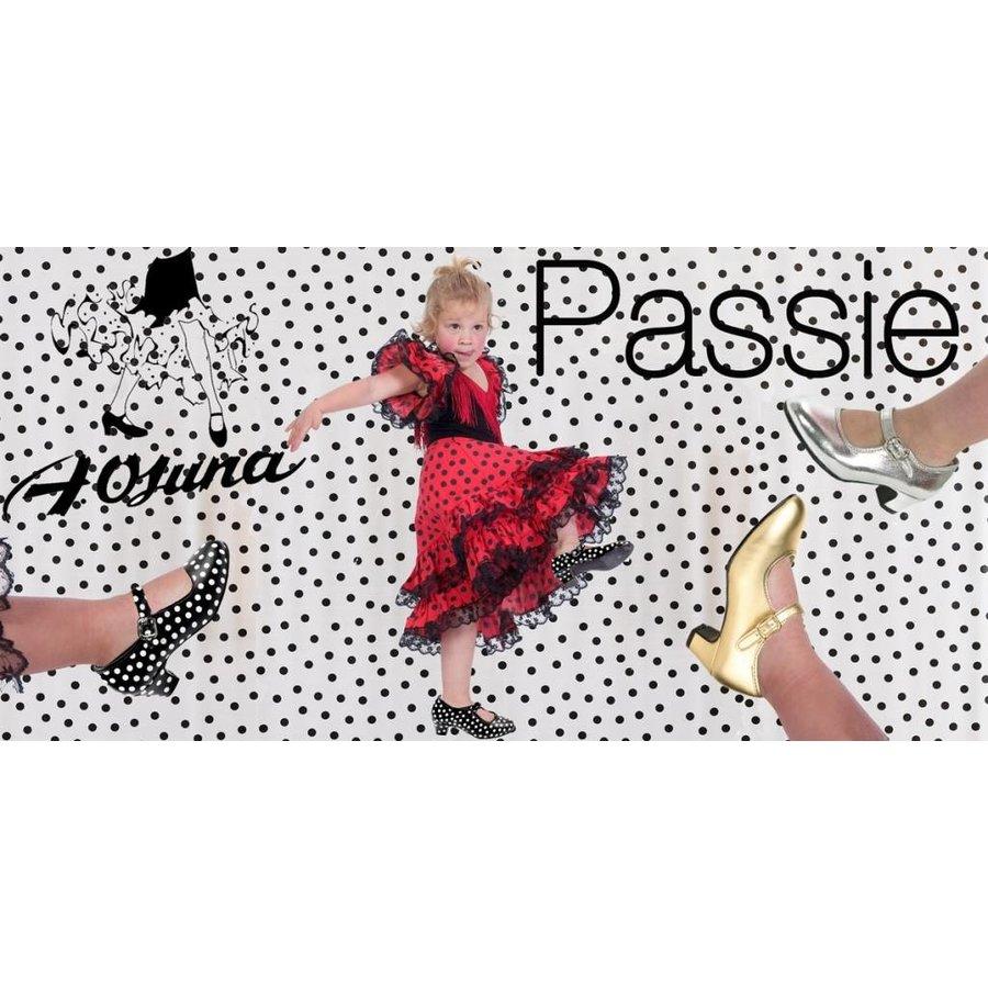 Spaanse Flamenco Schoen Stippen - Zwart/Wit