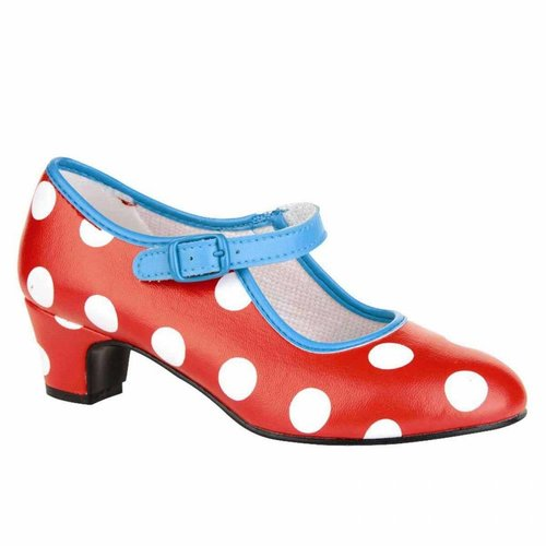 Spaanse Schoen Rood met witte stippen