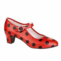 Spaanse Schoenen Sale! Flamencoschoen rood met zwarte stippen