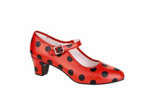 Spaanse Schoenen Sale! Flamencoschoen rood / zwart stip