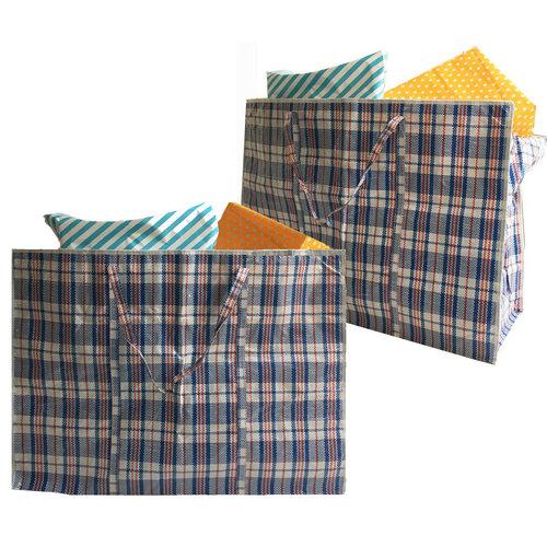 Big Shopper / Opbergtas / Waszak XL - 70 x 50 cm - Set van 10 - Blauw