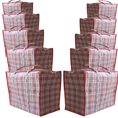 Big Shopper / Opbergtas / Waszak XL - 70x 50 cm - Set van 10 - Rood