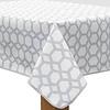 MixMamas Vierkant Tafelzeil - 140 cm - Hexagonal-layers-Wit/Grijs