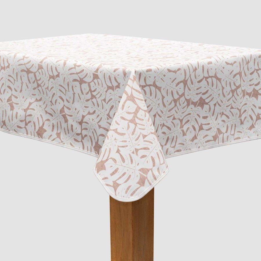 Vierkant Tafelzeil - 140 cm - Monstera Taupe/Wit