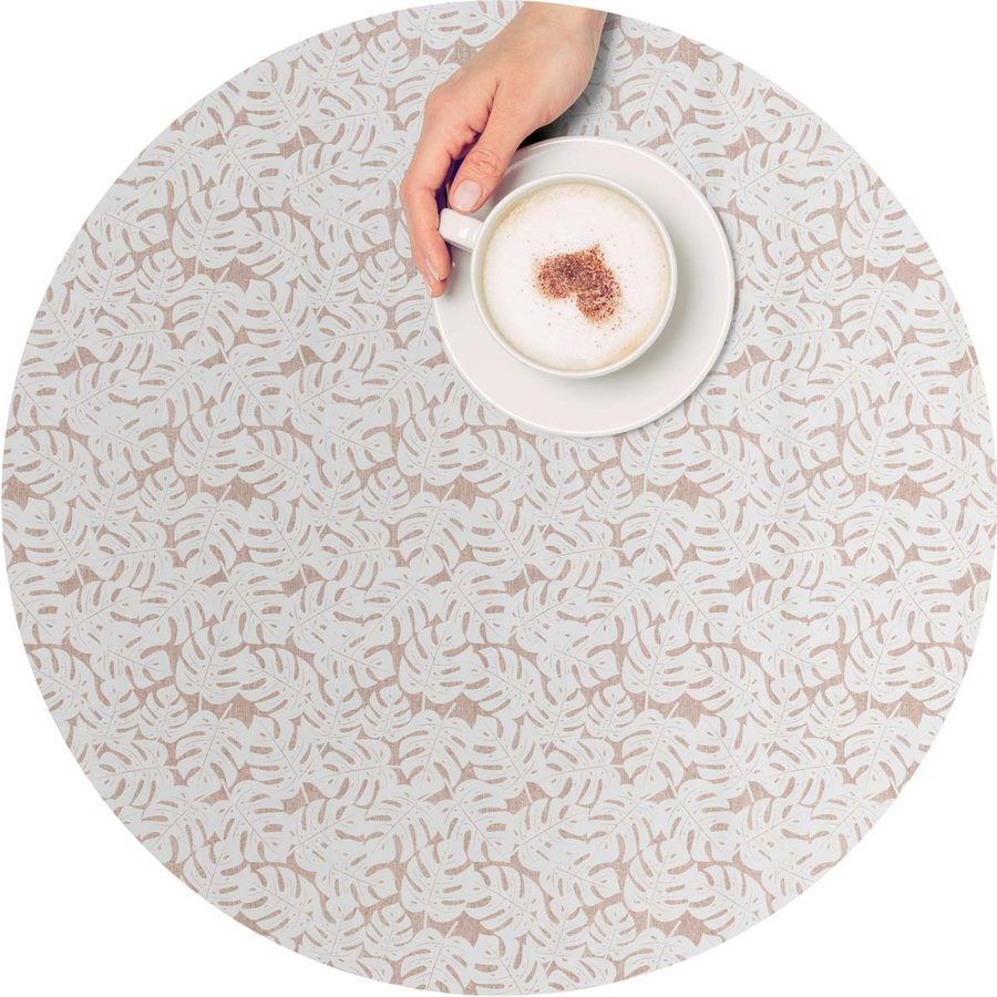 Tafelzeil Rond - 140 cm - Monstera Taupe/Wit