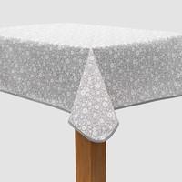 Vierkant Tafelzeil - 140 cm - Bloemetjes Grijs/Wit