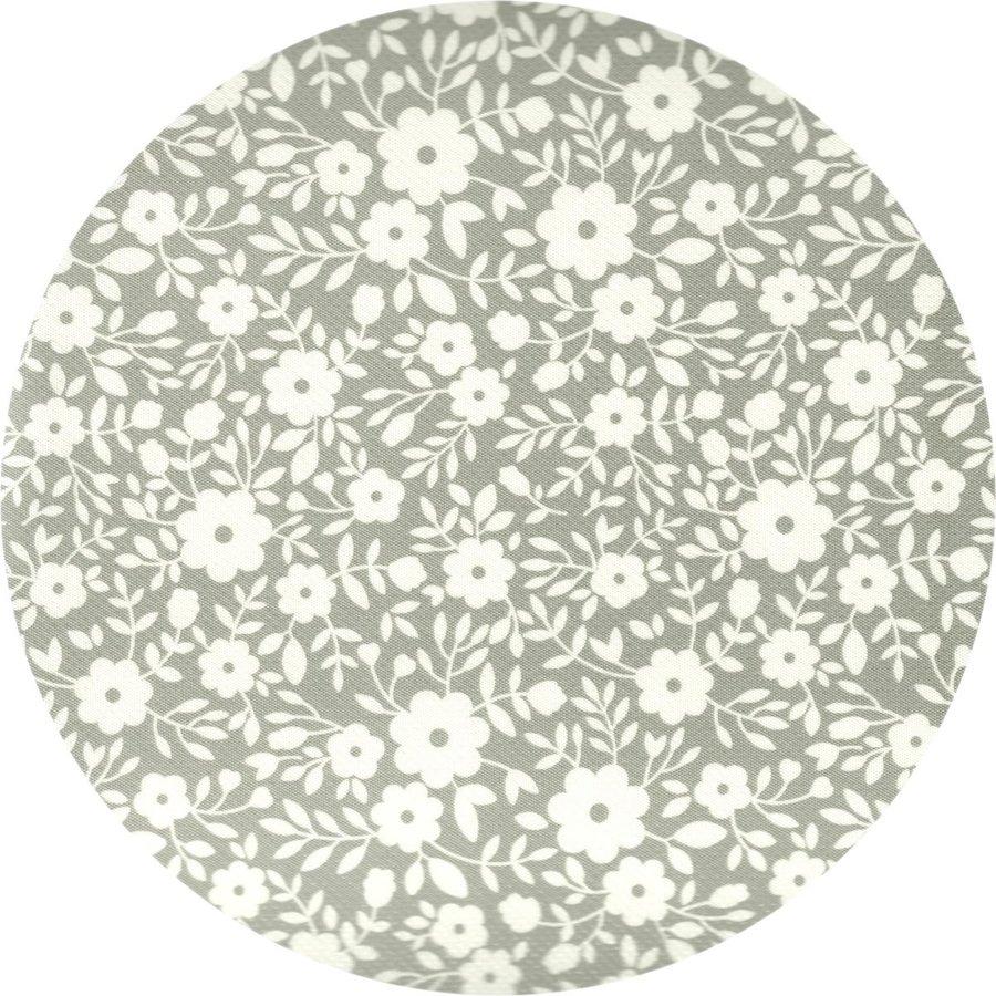 Tafelzeil Rond - 140 cm - Bloemetjes Grijs/Wit