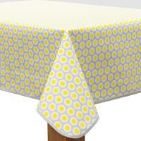 Vierkant Tafelzeil - 140 cm - Oogjes - Grijs/Geel