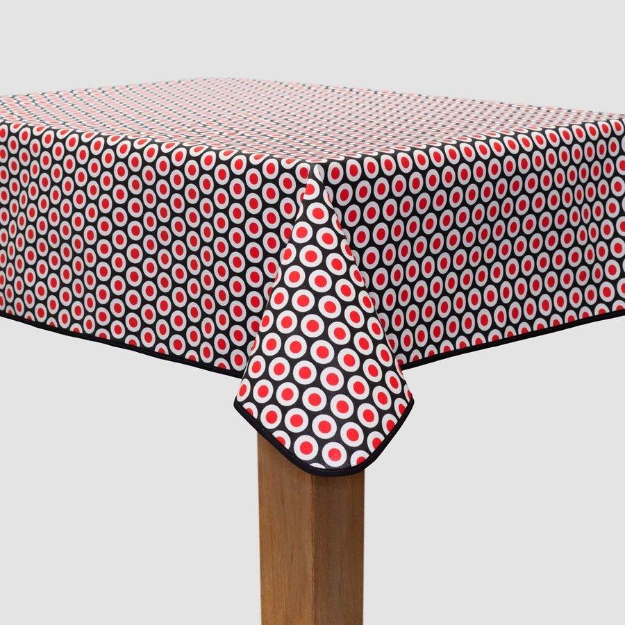Vierkant Tafelzeil - 140 cm - Oogjes - Zwart/Rood