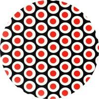 Tafelzeil Rond - 140 cm - Oogjes - Zwart/Rood