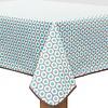 MixMamas Vierkant Tafelzeil - 140 cm - Oogjes - Taupe/Turquoise