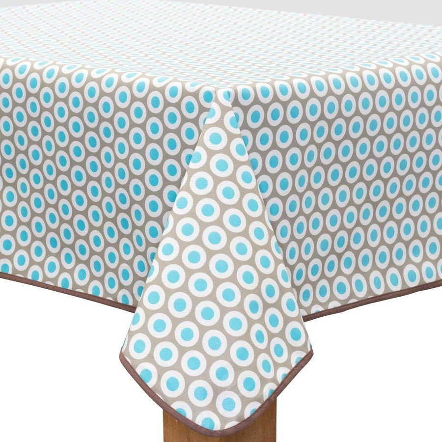 Vierkant Tafelzeil - 140 cm - Oogjes - Taupe/Turquoise