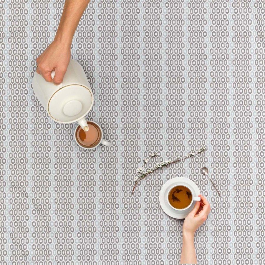 Vierkant Tafelzeil - 140 cm - Honingraat - Hexagon - Zwart/Blauw