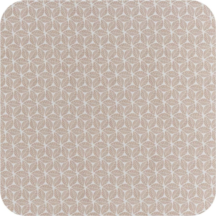 Vierkant Tafelzeil - 140 cm - Graphic-leaves-taupe