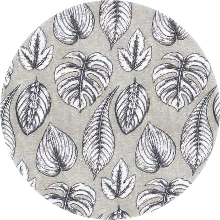 Rond Tafelkleed Gecoat - 140 cm Botanische Print Monstera Zwart
