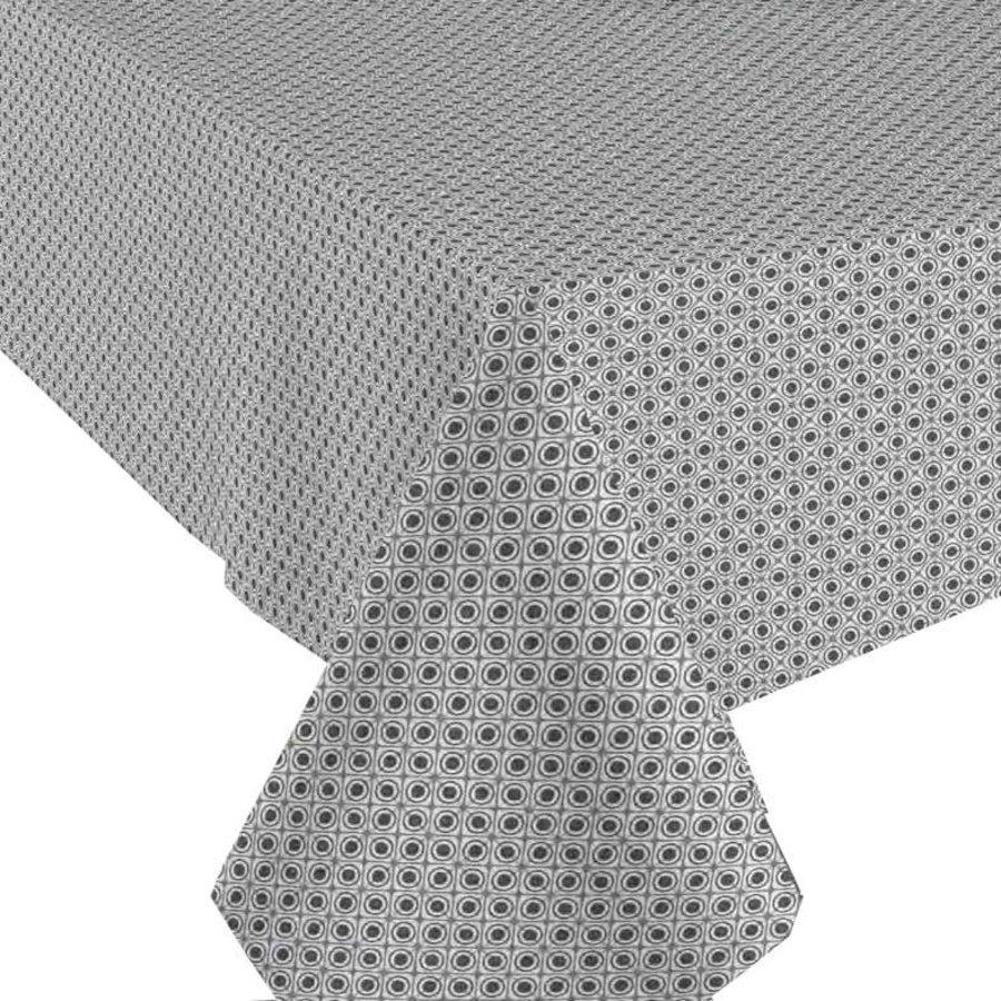 Rond Tafelkleed Gecoat - 140 cm Rondjes en Vierkantjes Grijs