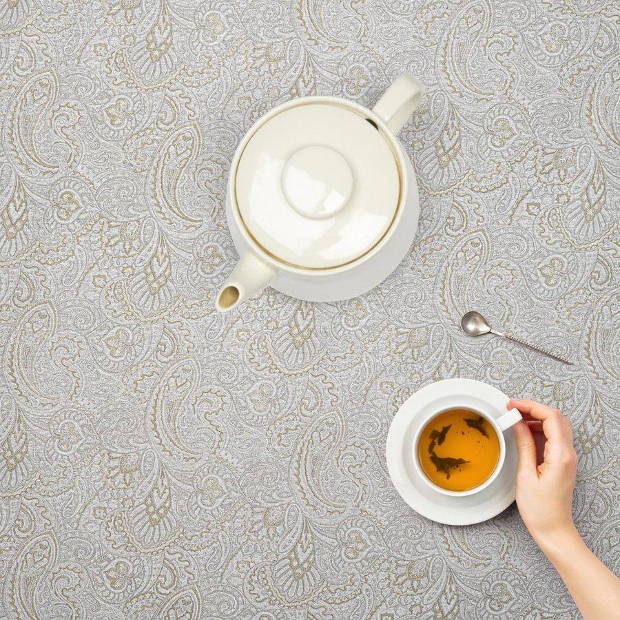Rond Tafelkleed Gecoat - 140 cm - Paisley - Beige