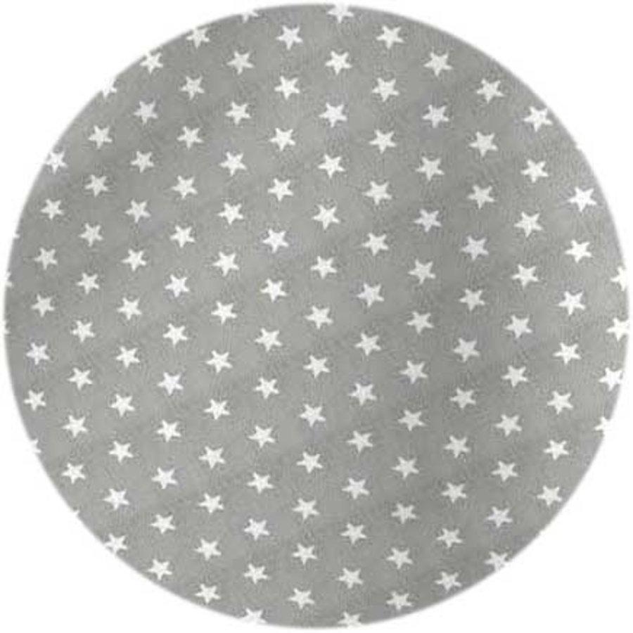Rond Tafelkleed Gecoat - 160 cm - Sterren - Grijs / Wit