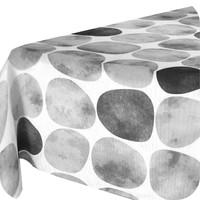 Rond Tafelkleed Gecoat - 160 cm - Keien -Zwart