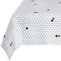 Rond Tafelkleed Gecoat - 160 cm  Hexagon Accent Grijs