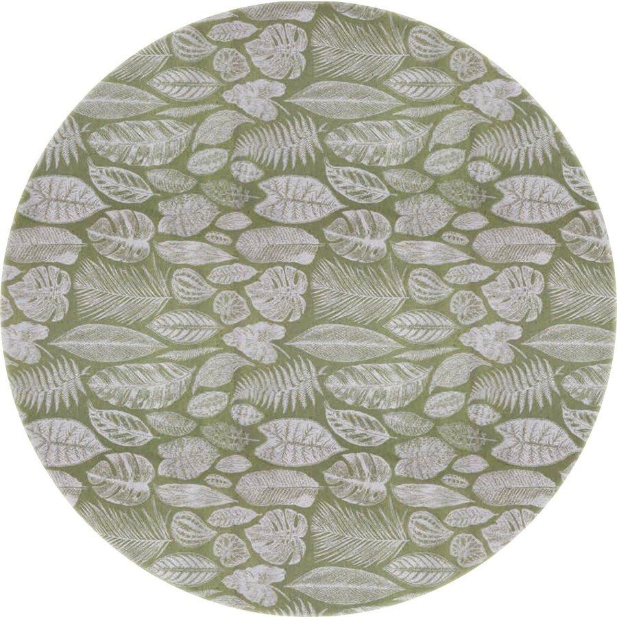 Rond Tafelkleed Gecoat Jacquard - 140 cm Tropische Bladeren - Groen