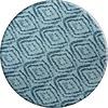 MixMamas Rond Tafelkleed Gecoat - 160 cm - Grote etnische ruit - Blauw