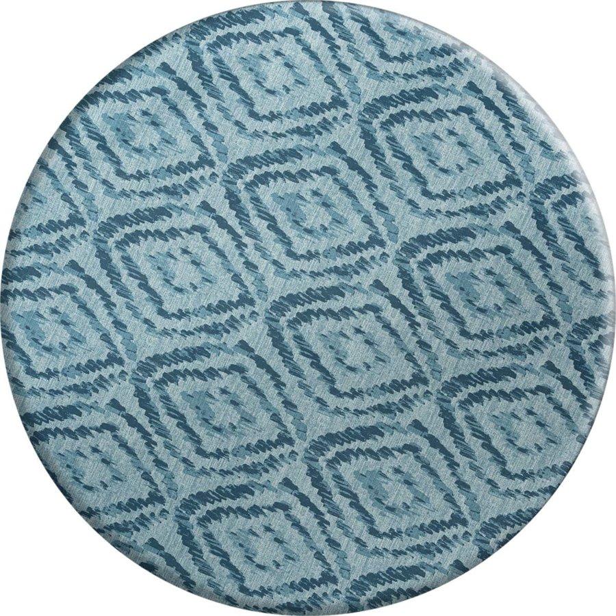 Rond Tafelkleed Gecoat - 160 cm - Grote etnische ruit - Blauw
