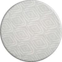 Rond Tafelkleed Gecoat - 160 cm - Grote etnische ruit - Wit
