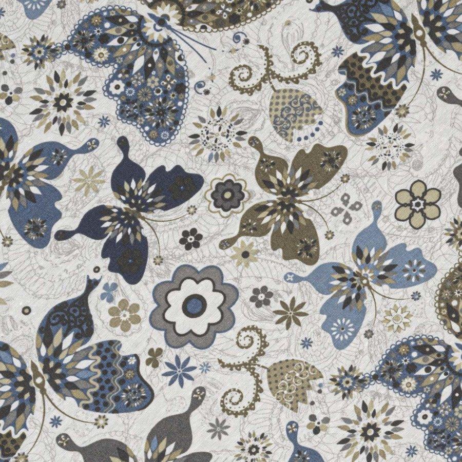 Rond Tafelkleed Gecoat - 160 cm - Vlinders Blauw Beige
