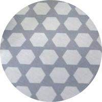 Rond Tafelkleed Gecoat - 180 cm  Hexagon Accent Grijs