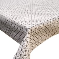 Rond Tafelkleed Gecoat - 180 cm Rondjes Vierkantjes - Grijs