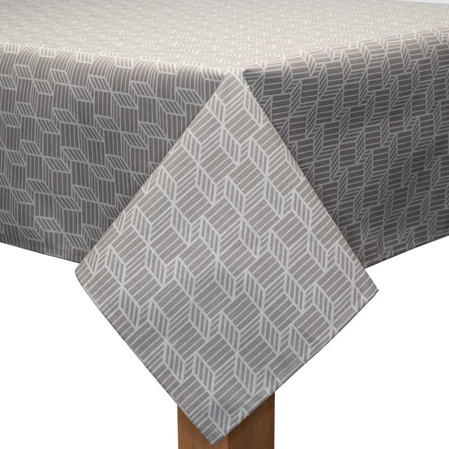 Tafelkleed Gecoat Kubussen - 140 x 250 cm - Beige/Wit