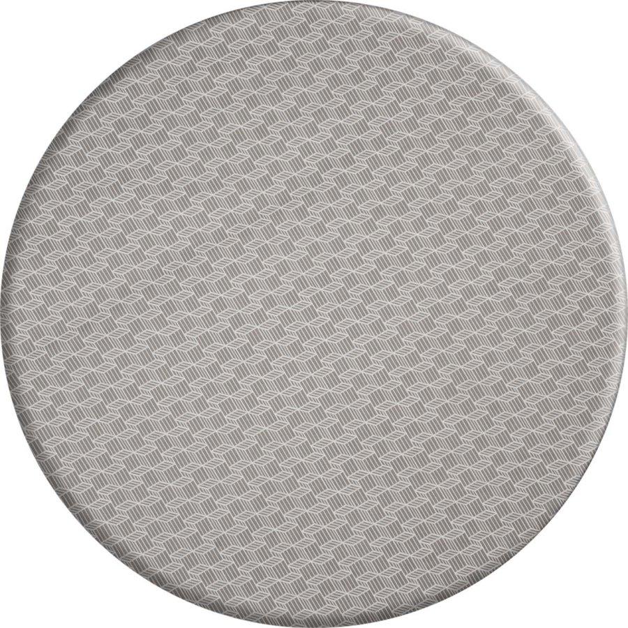 Rond Tafelkleed Gecoat - 180 cm - Kubussen - Beige/Wit