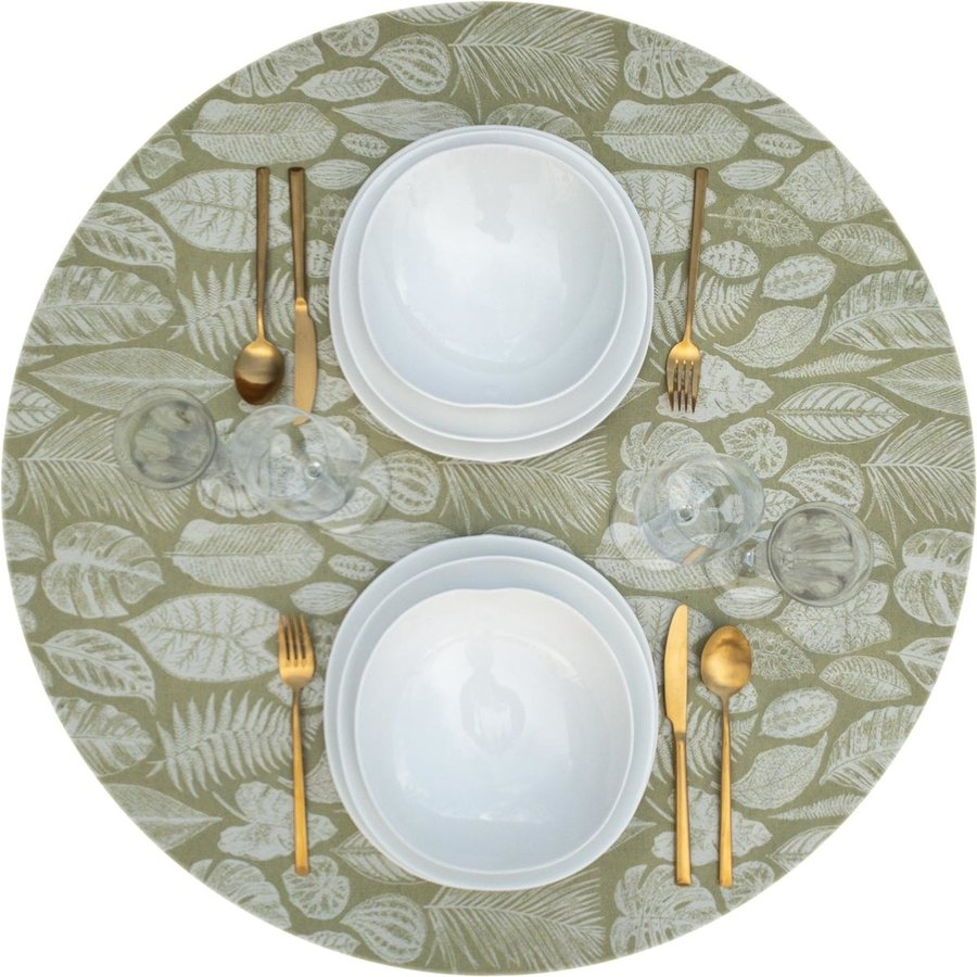 Rond Tafelkleed Gecoat Jacquard - 160 cm Tropische Bladeren - Groen