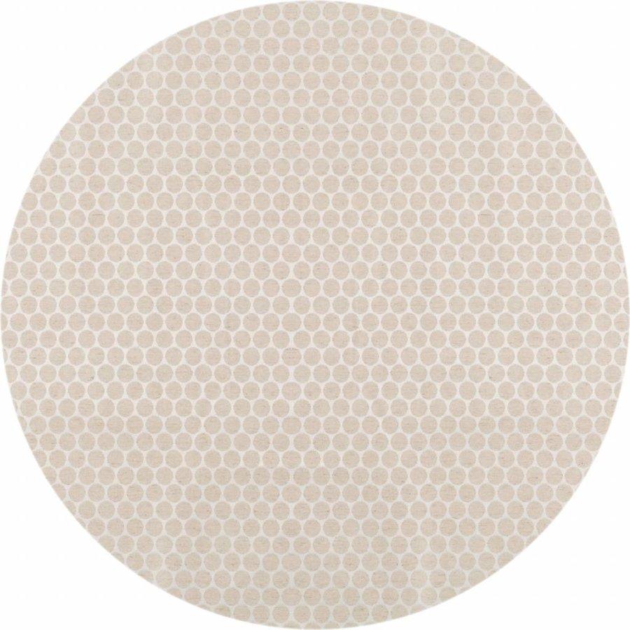 Rond Tafelkleed Gecoat Jacquard - 140 cm - Linnen Stippen - Beige