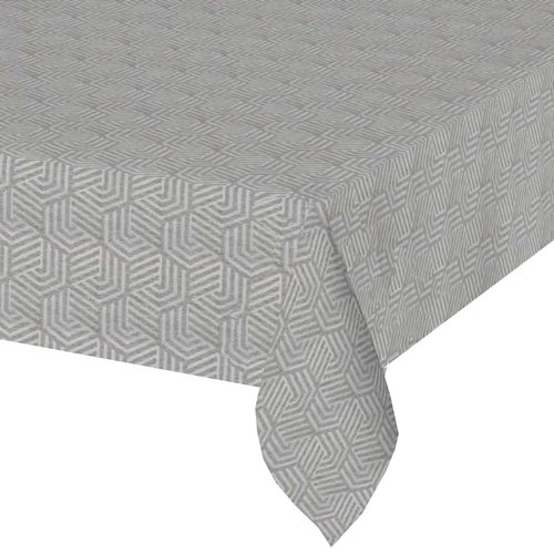 Vierkant Tafelkleed Gecoat Jacquard - 180 cm -Hexagon Seamless -Grijs