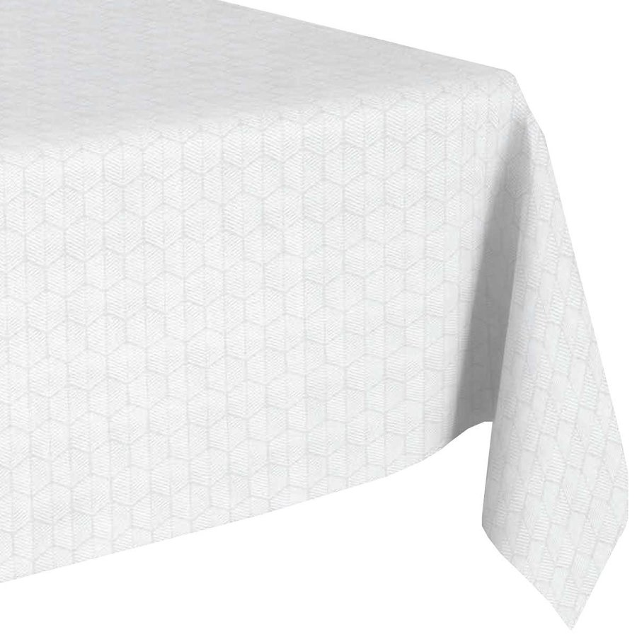 Vierkant Tafelkleed Gecoat Jacquard  - 180 cm - Striped Hexagon  - Wit