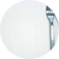 Rond Tafelkleed Gecoat Jacquard - 180 cm Striped Hexagon - Wit