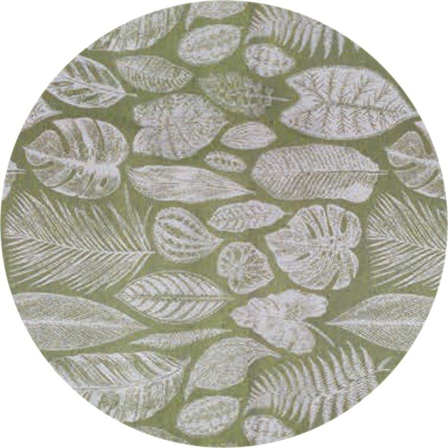 Rond Tafelkleed Gecoat Jacquard - 180 cm Tropische Bladeren - Groen